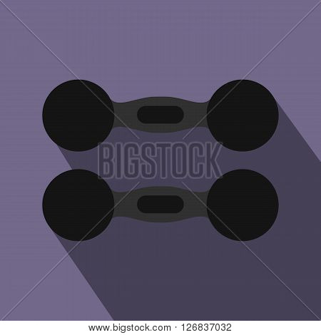 Pair of dumbbells icon in flat style on a violet background