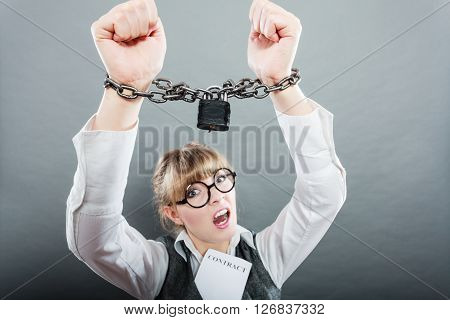 Business Woman With Chained Hands