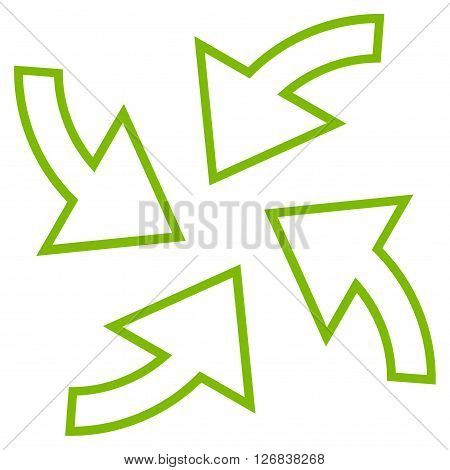 Cyclone Arrows vector icon. Style is contour icon symbol, eco green color, white background.