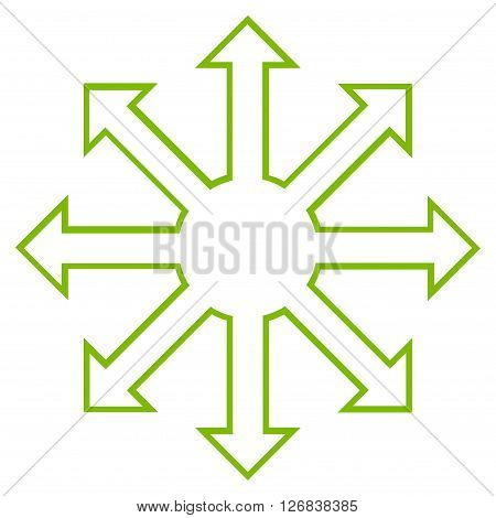 Enlarge Arrows vector icon. Style is contour icon symbol, eco green color, white background.