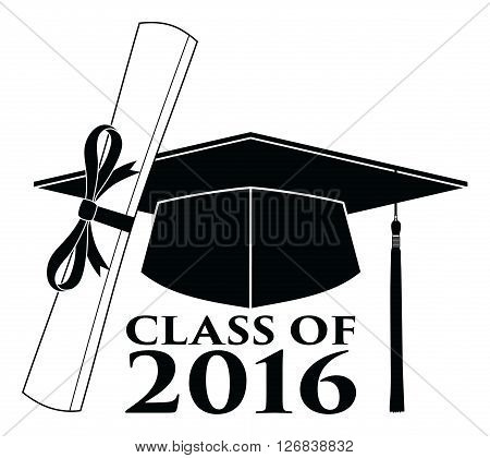 Graduate - Class of 2016 is an illustration of a design that shows your pride as a graduate of the class of 2016. Includes a cap, text and diploma. Great for t-shirt designs.