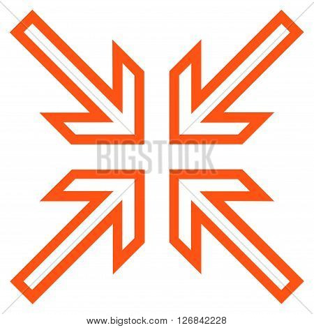 Implode Arrows vector icon. Style is stroke icon symbol, orange color, white background.