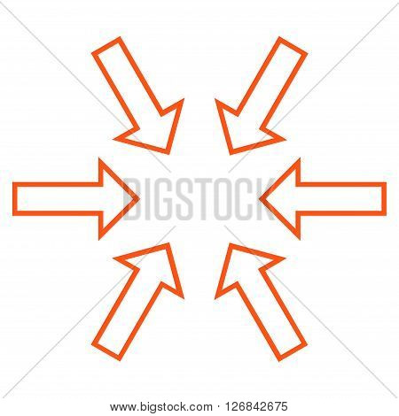 Pressure Arrows vector icon. Style is stroke icon symbol, orange color, white background.