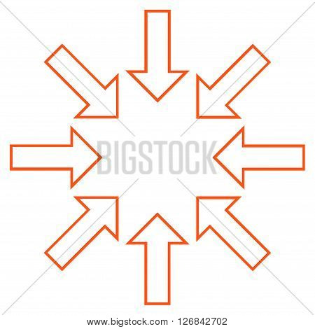 Pressure Arrows vector icon. Style is outline icon symbol, orange color, white background.