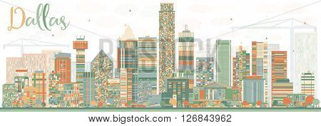 Abstract Dallas Skyline with Color Buildings. Vector Illustration. Business Travel and Tourism Concept with Modern Buildings. Image for Presentation Banner Placard and Web Site.