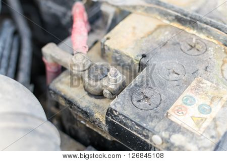 Closeup Of A Grim Covered Car Battery