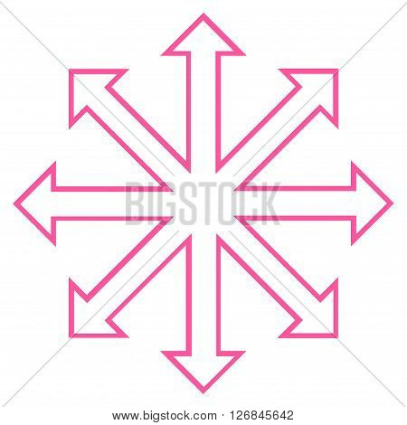 Maximize Arrows vector icon. Style is stroke icon symbol, pink color, white background.