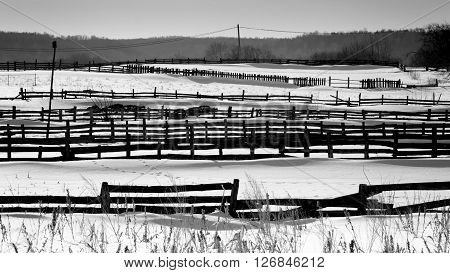Wooden Village Fences In Snow