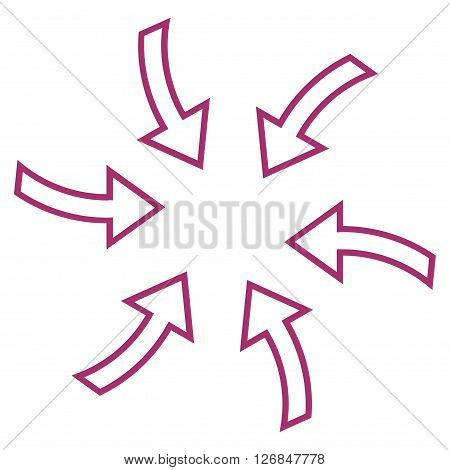 Cyclone Arrows vector icon. Style is contour icon symbol, purple color, white background.