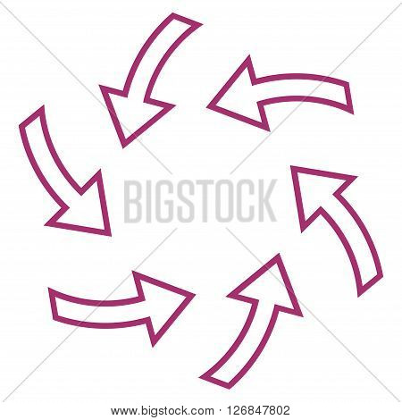 Cyclone Arrows vector icon. Style is thin line icon symbol, purple color, white background.