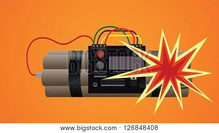 bomb dynamite explosion illustration vector illustration graphic