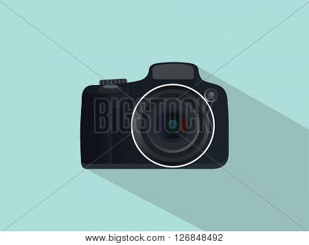 camera slr dslr isolated with flat style and long shadow vector
