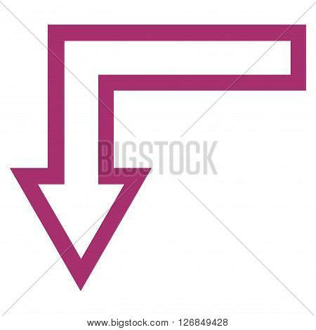 Turn Down vector icon. Style is contour icon symbol, purple color, white background.