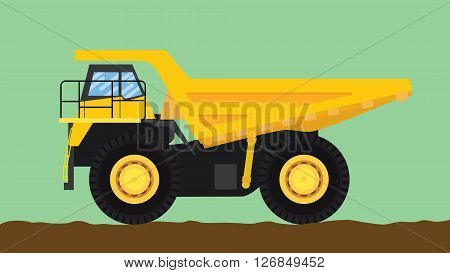 dump truck yellow isolated with big wheel and dirt  vector illustration