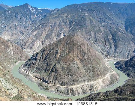 Omega Bend of Yangtze River Yunnan China