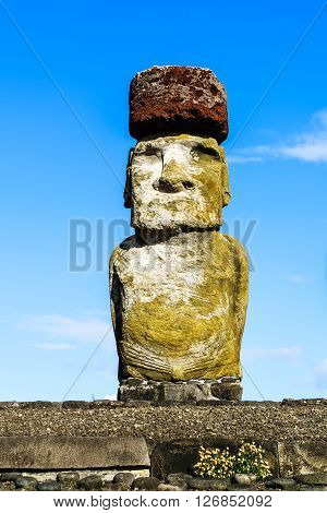 Moai, the monilithic statue of Easter Island, Chile