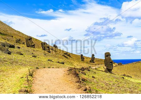 Moai at the Quarry Rano Raraku in Rapa Nui National Park Chile