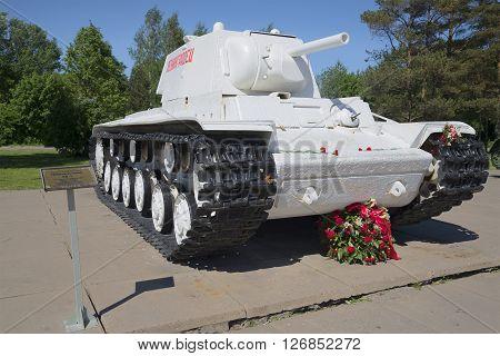 LENINGRAD REGION, RUSSIA - JUNE 08, 2015: Soviet tank KV-1 at the diorama