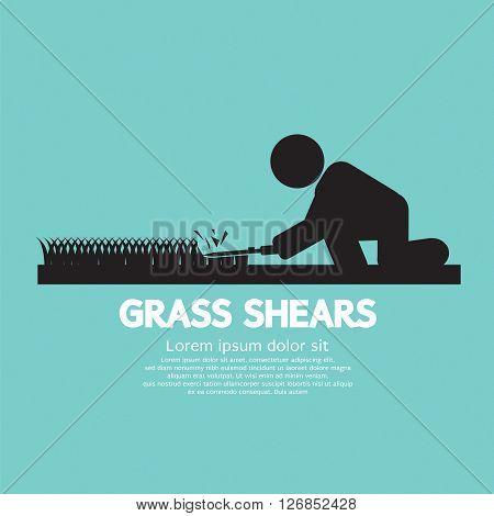 Grass Shears Black Symbol Vector Illustration. EPS 10