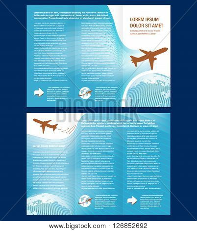 Vector Brochure Tri-fold Layout Design Template airplane takeoff fly