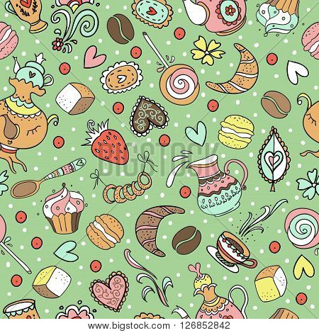Seamless sweet tea pattern with diferent candies.