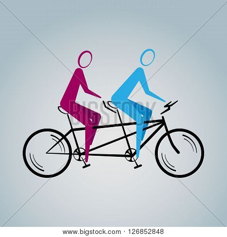 Vector illustration of tandem bicycle with silhouettes of man and woman