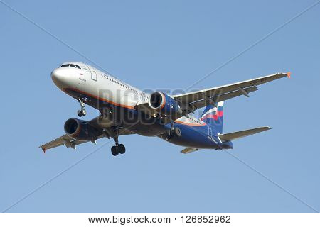 ST. PETERSBURG, RUSSIA - MARCH 20, 2016: Airbus A320-214