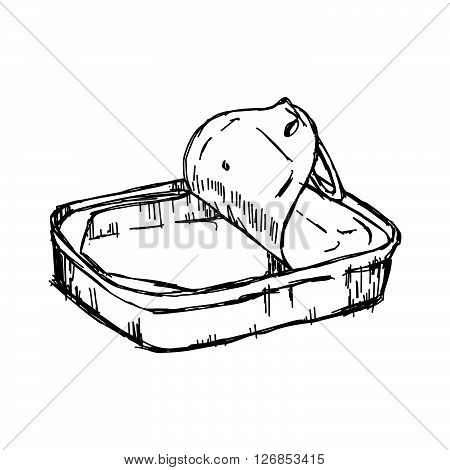 illustration vector hand draw doodles of empty tin can isolated on white background