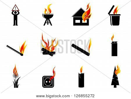 icon fire. A set of icons fire, a sign the danger and objects provoking the fire