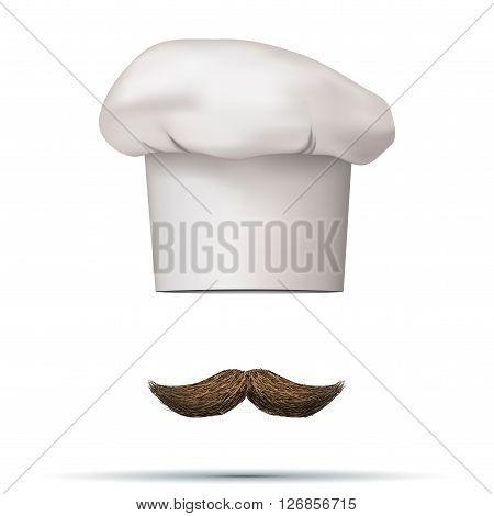 Symbol of chef cap toque and mustache. Haute cuisine.  3D illustration.