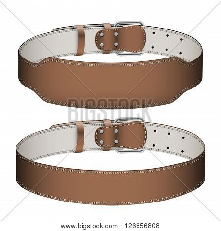 Set of Mockup Sport Weightlifting GYM Leather Belts with space for your brands. Wide and narrow models. 3D Illustration isolated on white background.