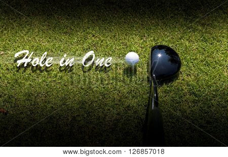 Golf driver driving ball with Hole-in-One caption