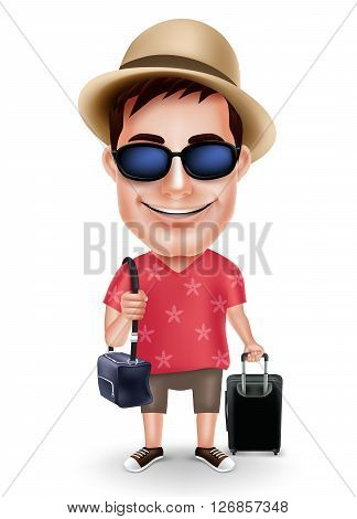 Tourist Traveler Man Vector Character Wearing Casual Dress and Hat with Traveling Bags for Travel Isolated in White Background. Vector Illustration