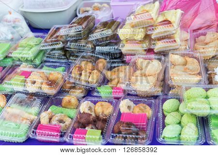 Assorted Malay Cakes And Sweet Food Sold At Street Stall