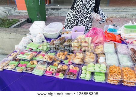 Vendor Selling Assorted Malay Sweet Cakes Food At Street Stall