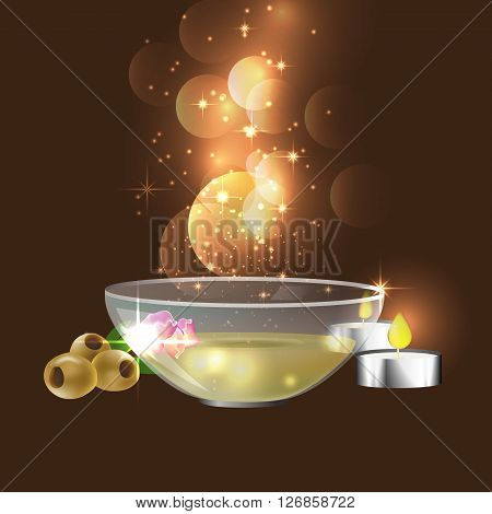 the concept of aromatherapy and massage with image of plate with massage oil candles olives and rose petals
