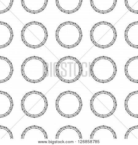 Seamless background with repeating circles of three black colored barbed wires on white