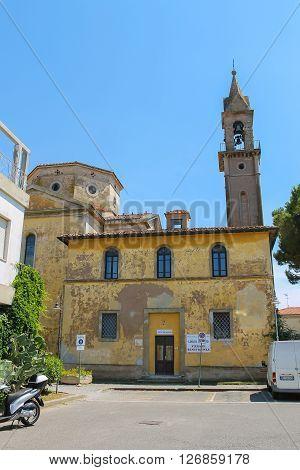 Vada Italy - June 29 2015: Bell tower of catholic church (Chiesa di San Leopoldo Re). Province Livorno Tuscany region of Italy