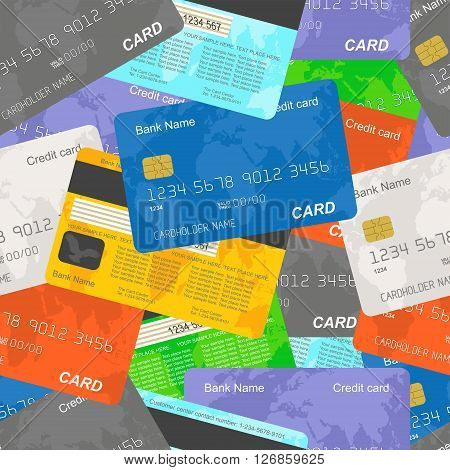 Credit cards vector seamless background. Vector illustration