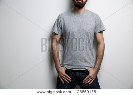 Male Body Grey T-shirt