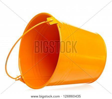 Decorative bright garden bucket isolated on white background