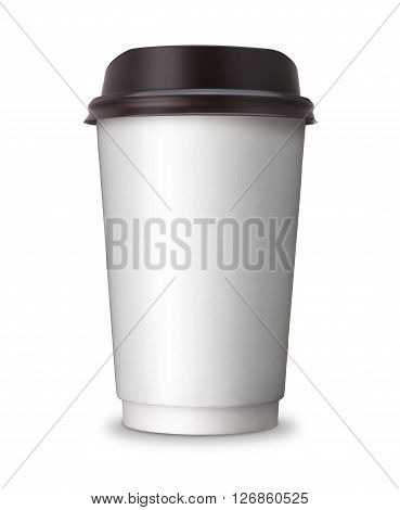 Paper Coffee cup or hot coffee cup with copy space for your design. Take out, take away or take home coffee cup isolated on white background with clip path - 3D Illustration