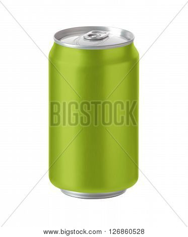 light green aluminum can with blank copy space ideal for beer lager alcohol soft drink soda lemonade cola energy drink juice water apple grape etc. 3D Illustration with clip path