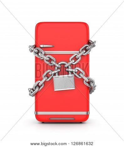 Concept of diet. Red retro fridge in the chain and padlock. 3d illustration