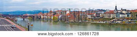Town of Maribor riverfront panoramic view Slovenia