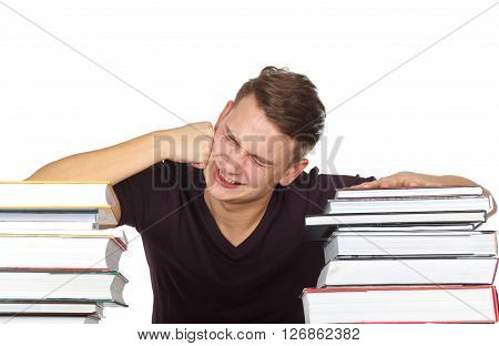 Photo of a stressful college student who try to study