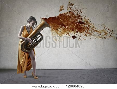 Elegant musician playing music