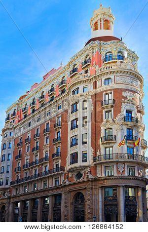 Banco de Valencia historical building in Pintor Sorolla street at Spain