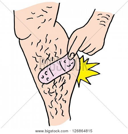 An image of a Man pulling bandage from hairy leg.