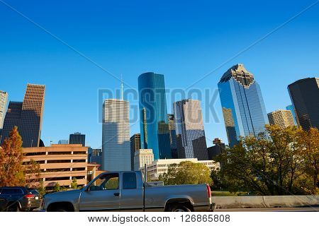 Houston downtown skyline of Texas city in US USA North America